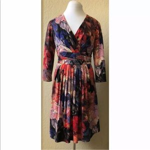 Adrianna Papell watercolor fit and flare dress